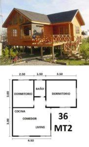 plano cabaña prefabricada 36 metros